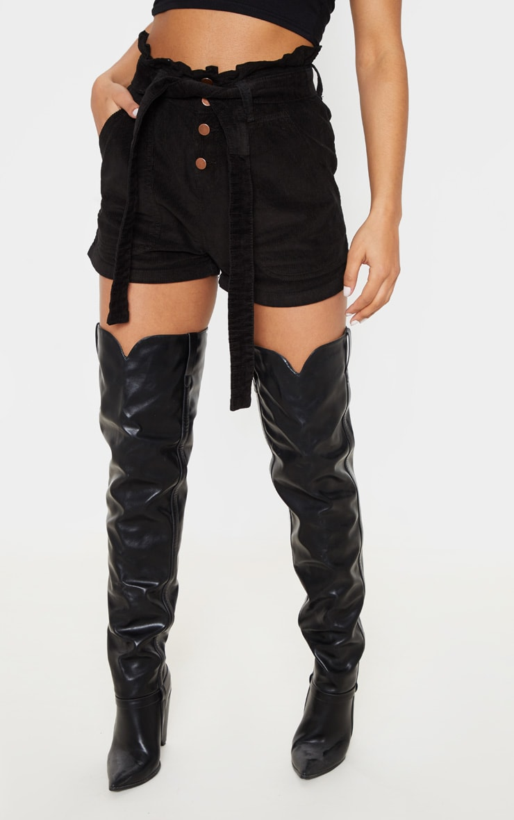 Black Cord Paperbag Shorts 2