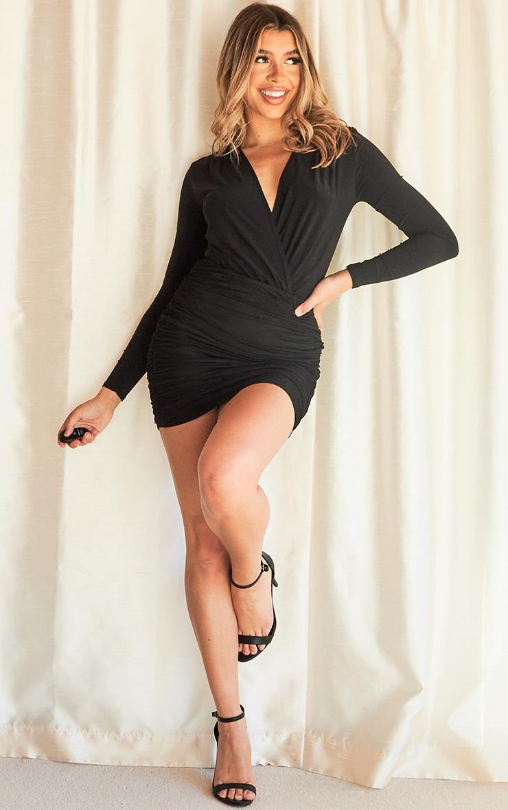 Black Slinky Plunge Cross Front Bodysuit 3