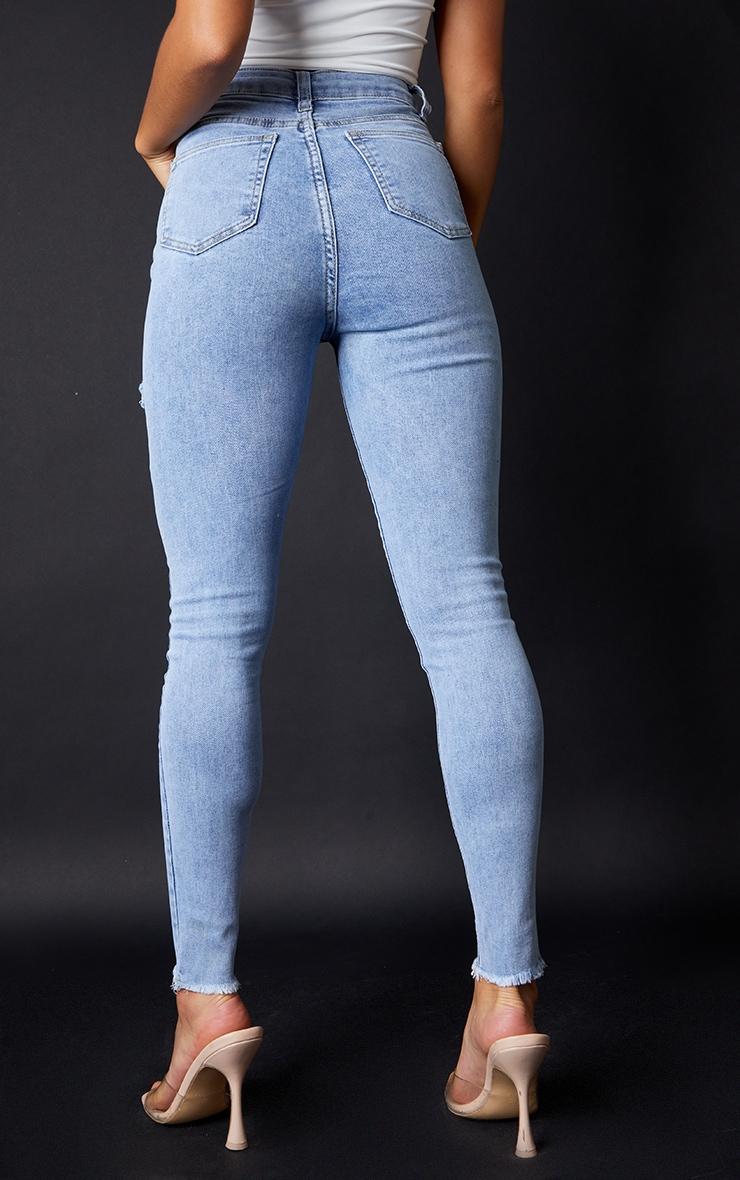 PRETTYLITTLETHING Petite Vintage Wash Thigh Rip Raw Hem 5 Pocket Skinny Jean 3