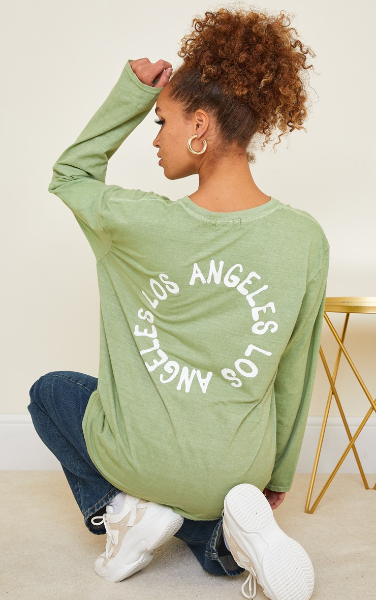 Sage Green LA Oversized Long Sleeve T Shirt 1