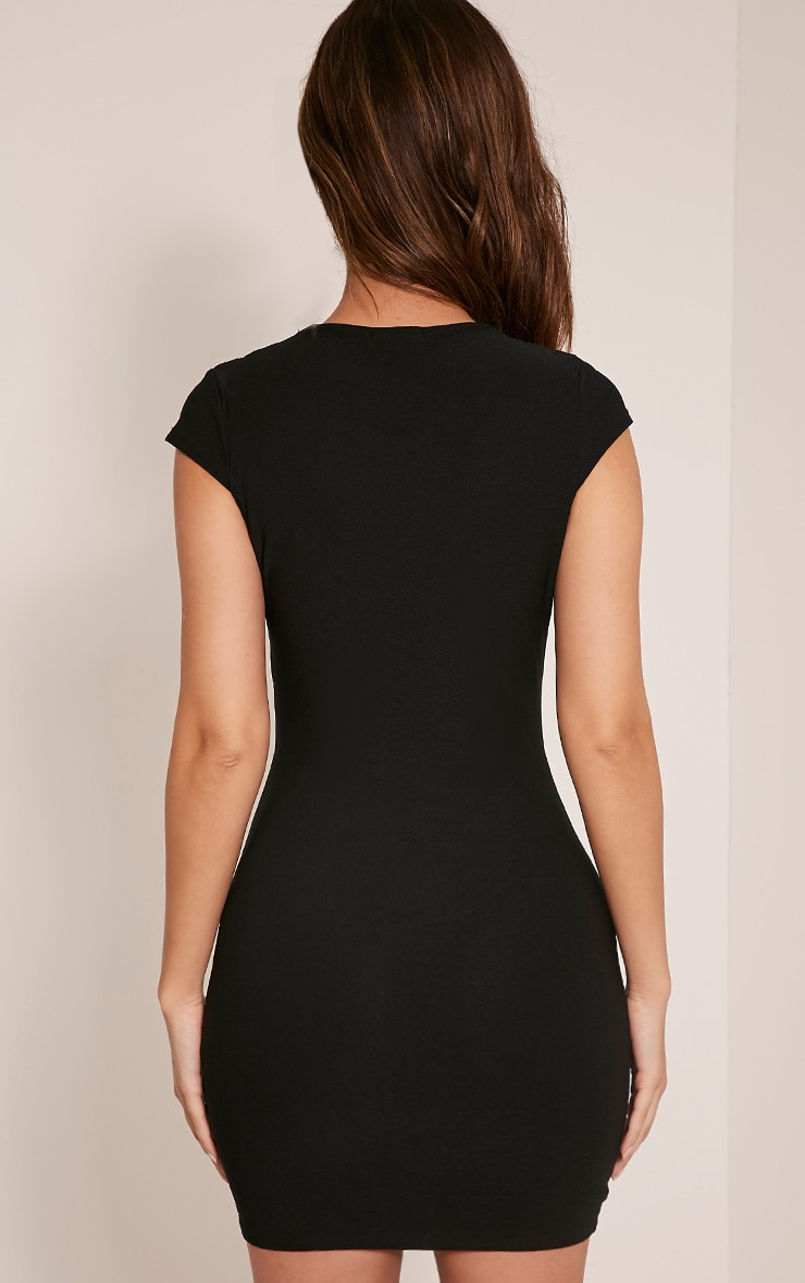 Tamzie Black Cut Out Detail Capped Sleeve Bodycon Dress 4
