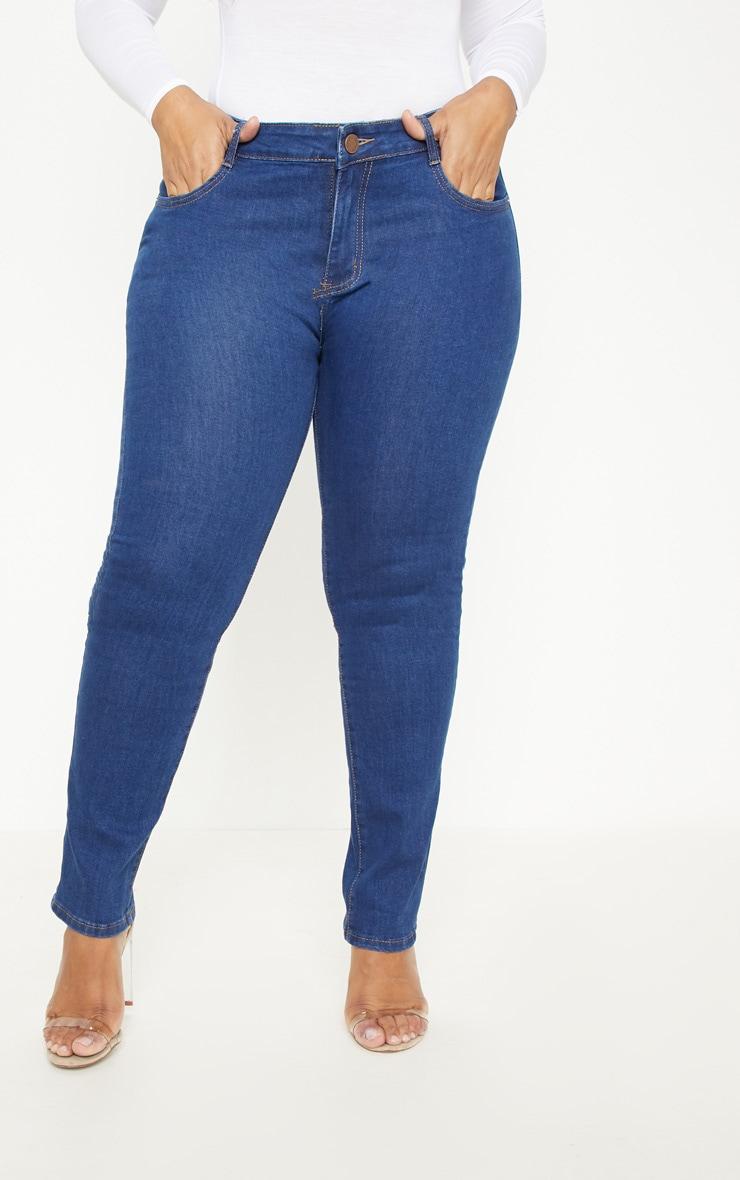 Plus Mid Wash Rise Skinny Jean  2