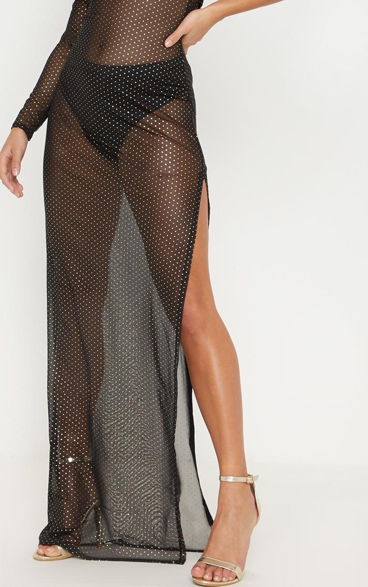 Petite Black Mesh Polka Dot Maxi Dress 5