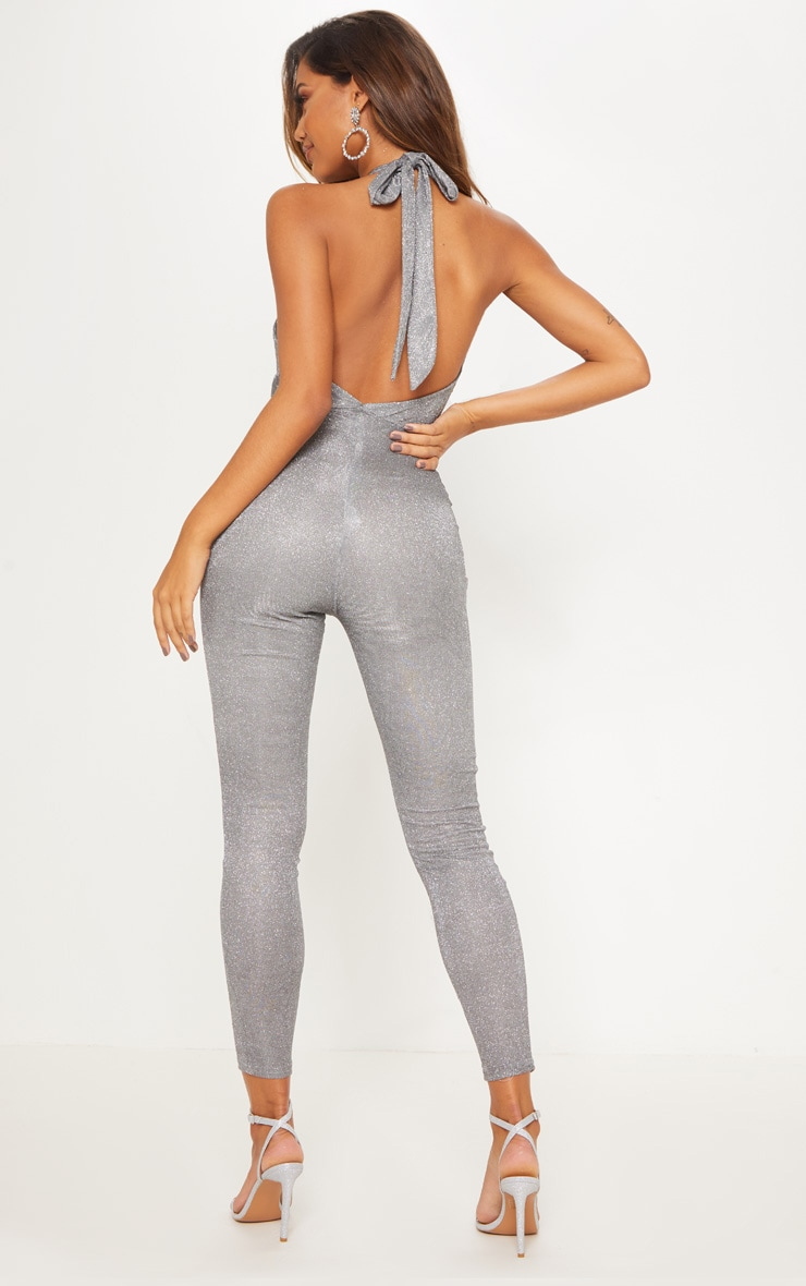 Silver Glitter Halterneck Slim Leg Jumpsuit 3