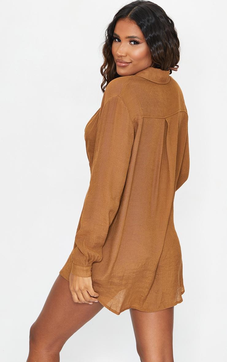 Brown Linen Look Oversized Beach Shirt 2