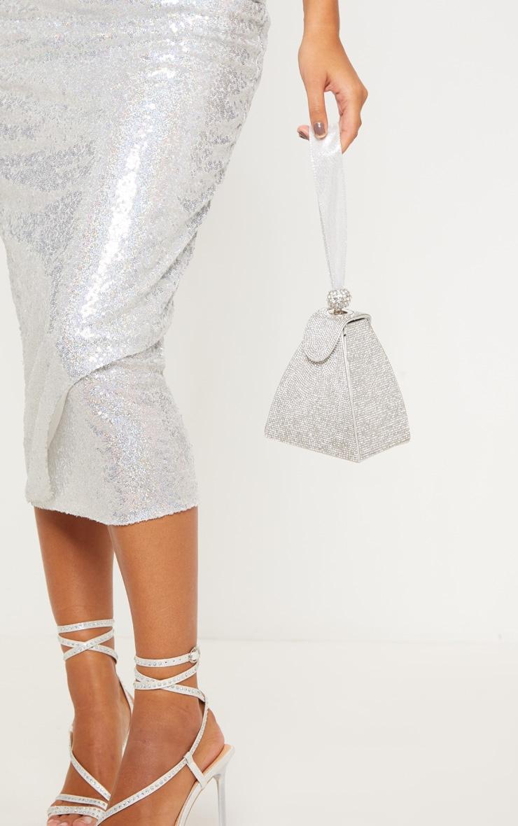 Silver Diamante Pyramid Mini Bag 2
