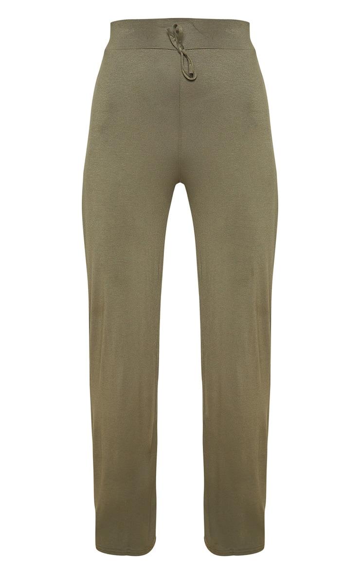 Khaki Drawstring Jersey Wide Leg Jogger 3