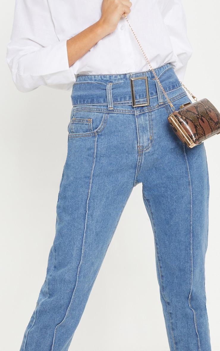Mid Wash High Waist Slim Leg Belted Jean  5
