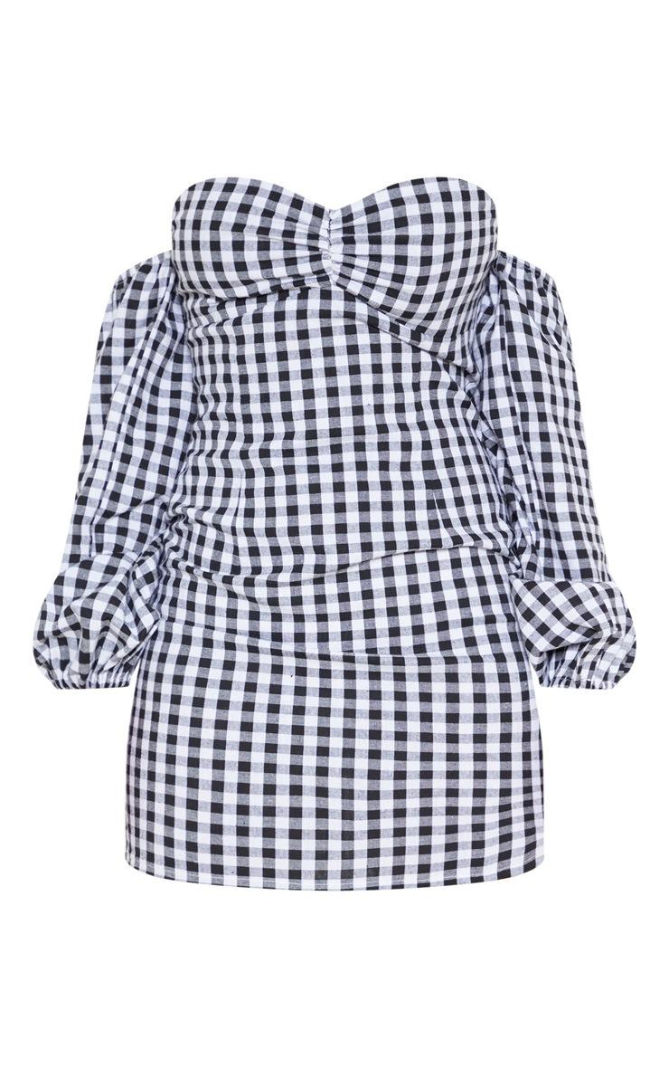 Petite Black Gingham Bardot Full Sleeve Dress 3