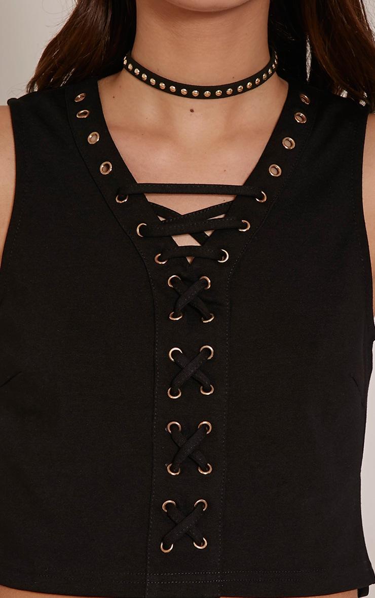 Della Black Lace Up V Neck Crop Top 5