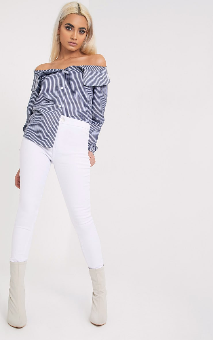 Abagel Blue Stripe Bardot Shirt 1