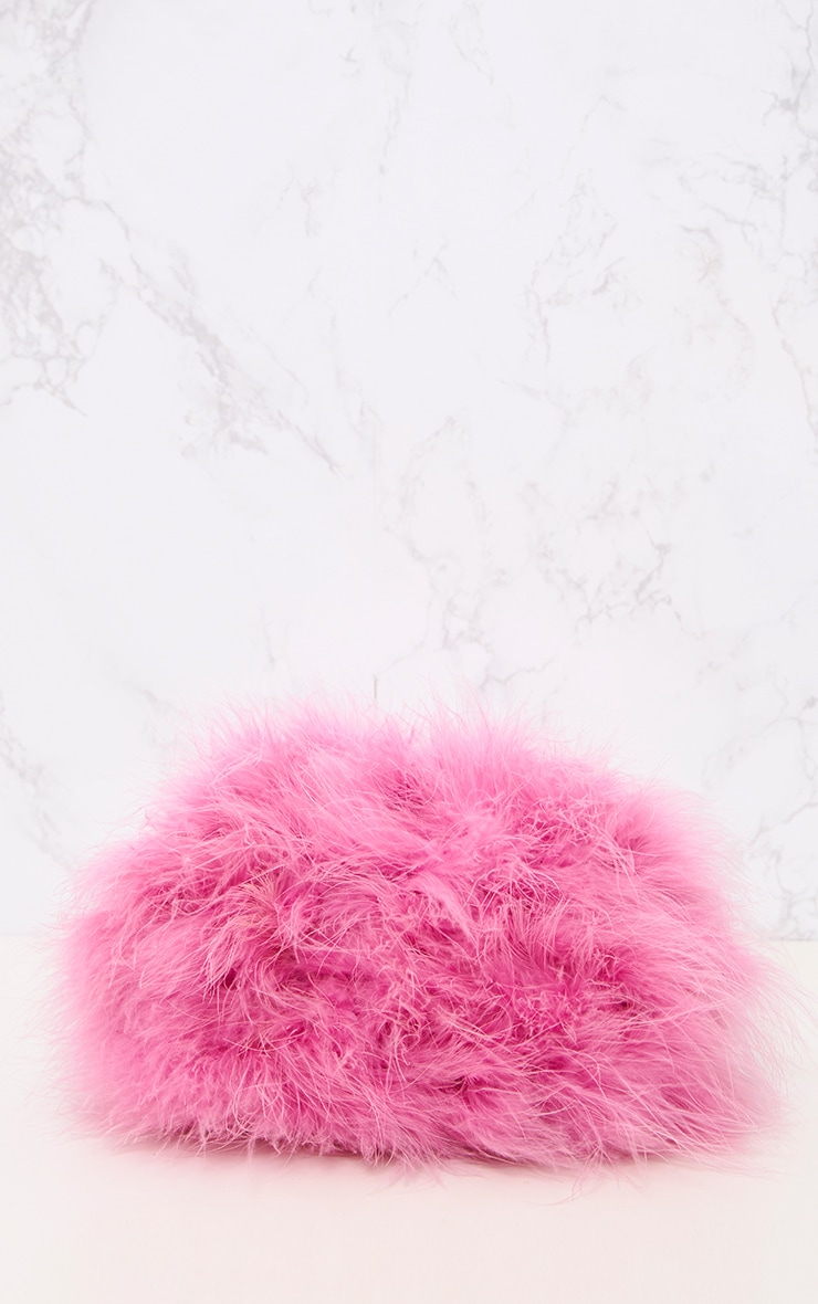 Pink Marabou Feather Clutch Bag 4