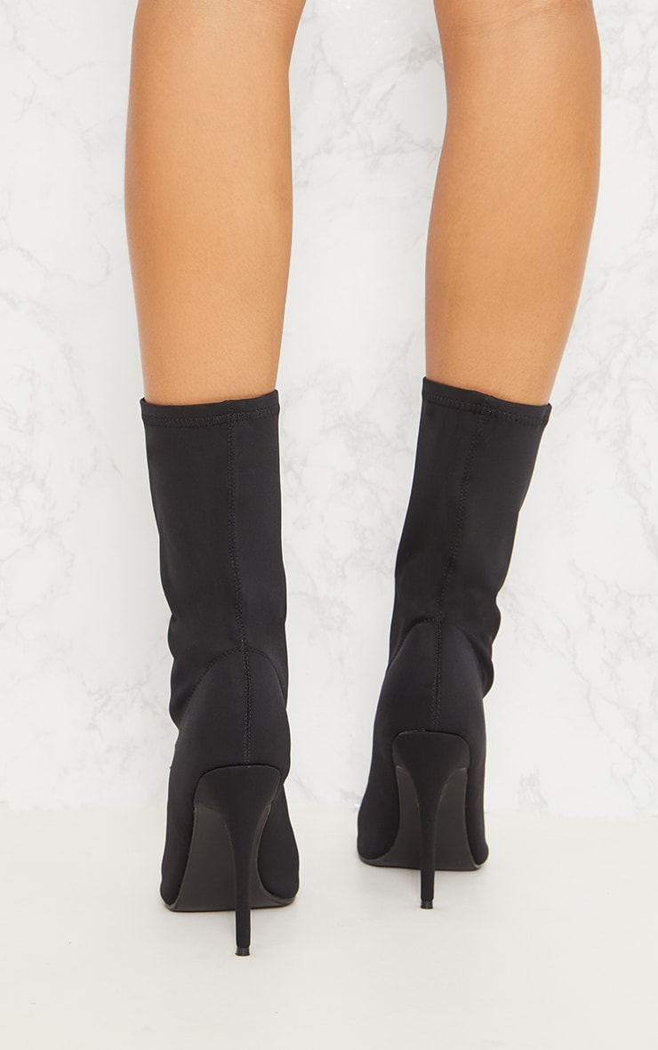 Black Lycra Peeptoe Sock Boot 5