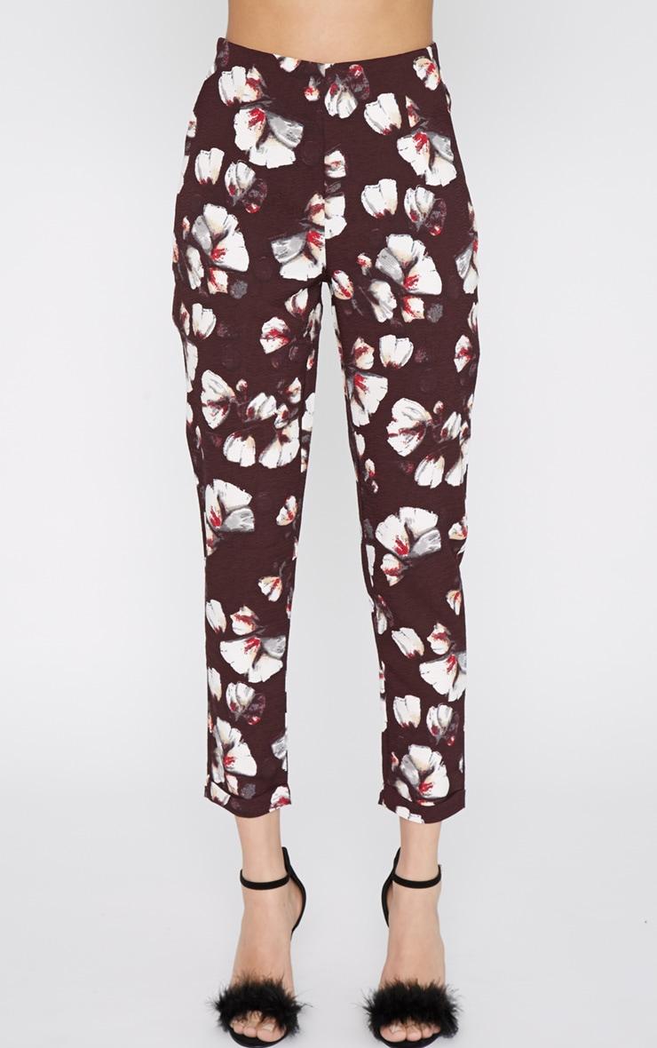 Michela Burgundy Floral Print Trouser  2