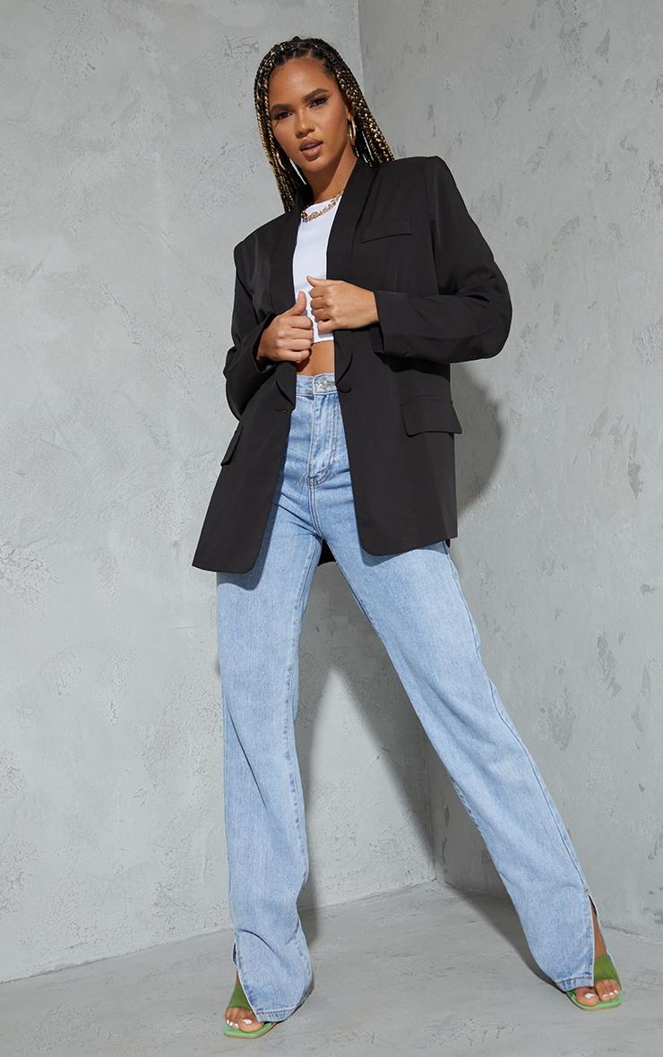 Black Curved Lapel Woven Longline Blazer 1