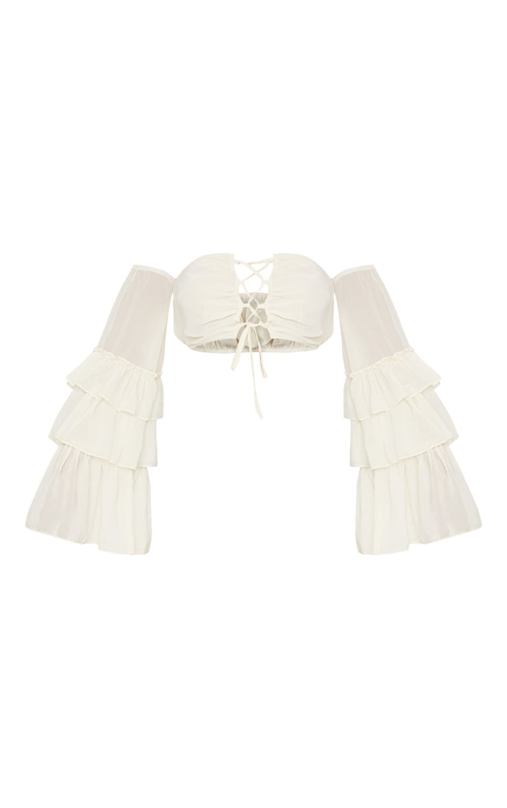 Cream Woven Ruffle Sleeve Lace Up Crop Top 5