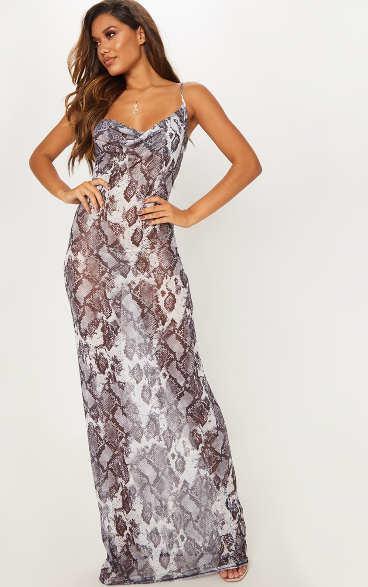 595ca357657 Grey Snake Print Sheer Cowl Neck Maxi Dress image 1