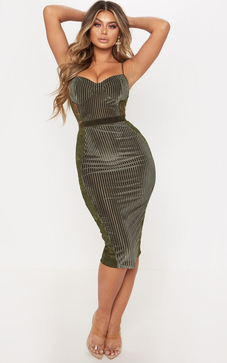 Khaki green velvet plisse bodycon midi dress