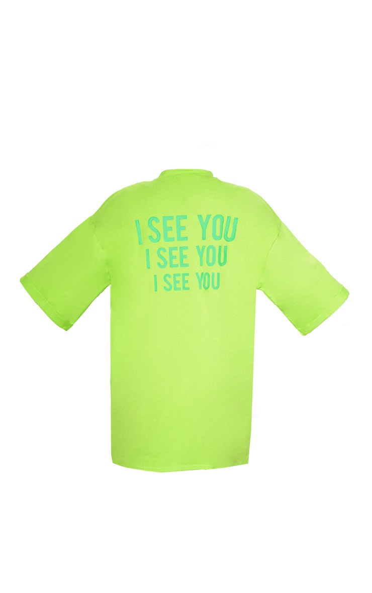 Neon Green I See You Oversized Slogan T Shirt Dress 4