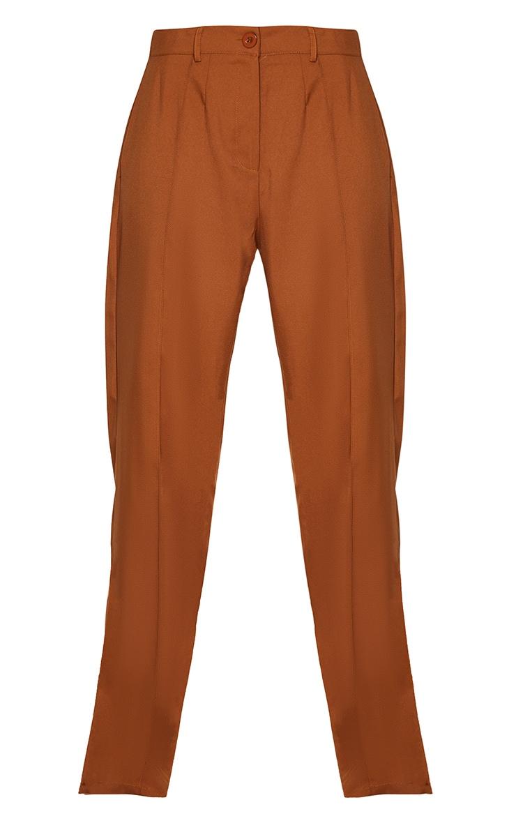 Tan Seam Front High Waist Wide Leg Trousers 6