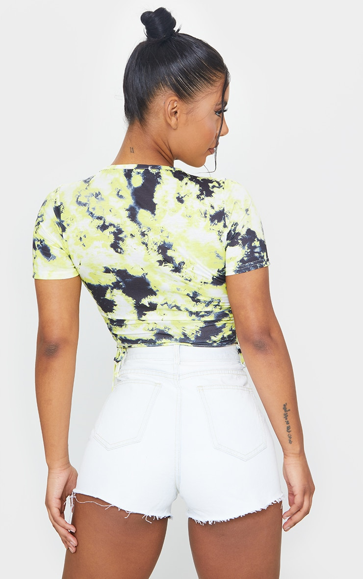 Lemon Acid Wash Ruched Side Crop T Shirt 2