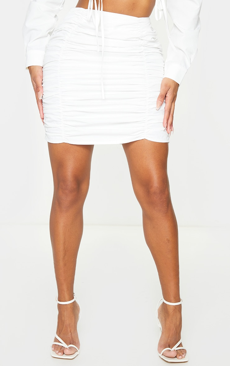 Shape White Ruched Bodycon Skirt 2
