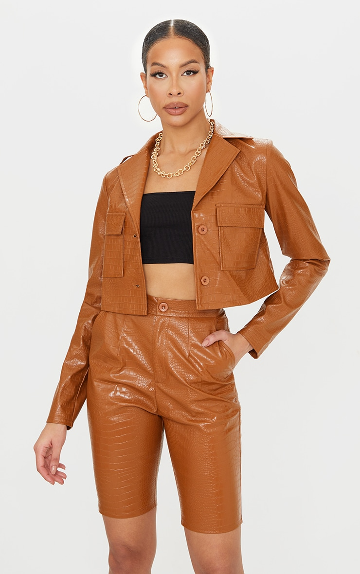 Tall Tan Mock Croc Cropped Trucker Jacket