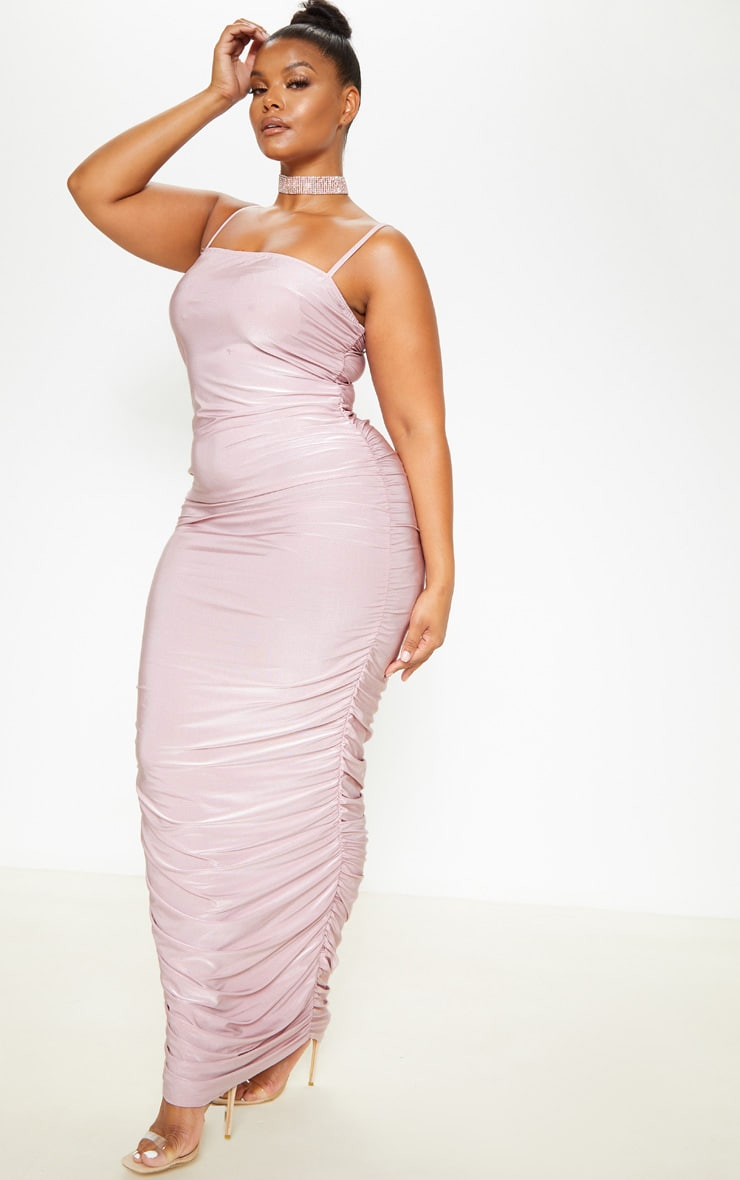 Plus Dusty Lilac Strappy Slinky Ruched Back Maxi Dress 4