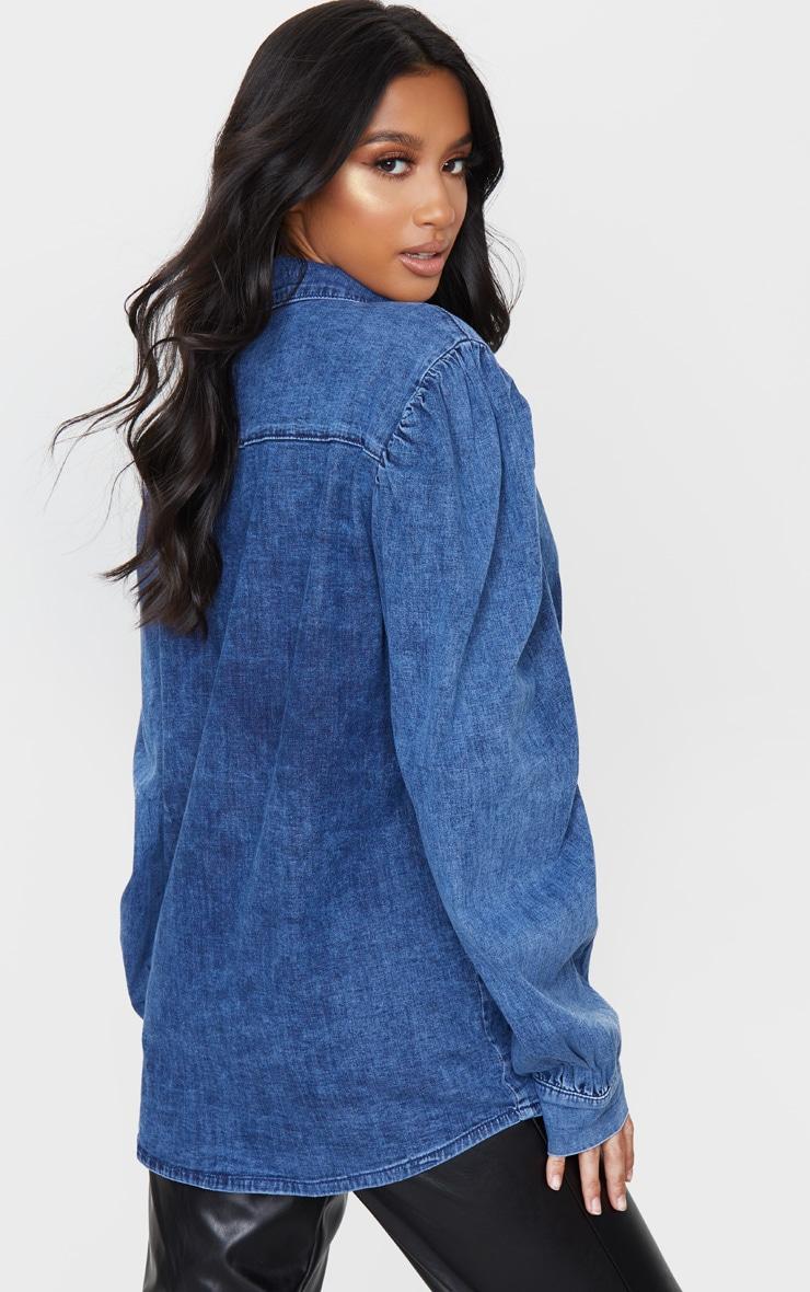 Petite Dark Blue Wash Balloon Sleeve Denim Shirt 3