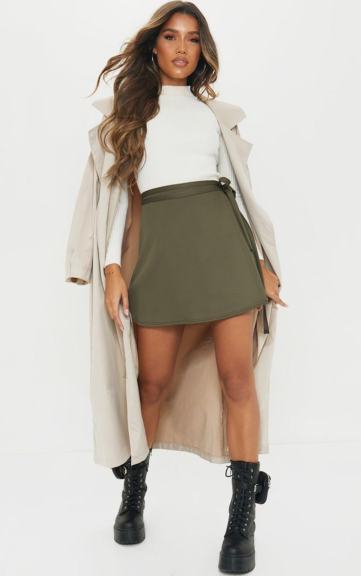 Khaki Wrap Scuba Mini Skirt 1