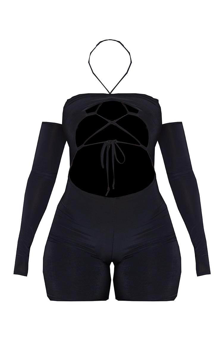 Shape Black Slinky Lace Up Detail Bardot Unitard 5