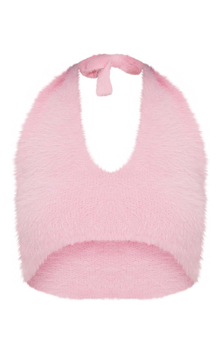Bralette dos nu en tricot frangé rose pâle 3