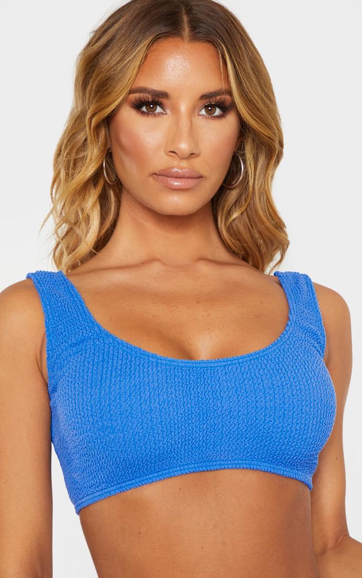 Haut de maillot de bain bleu cobalt froncé à col très rond 5