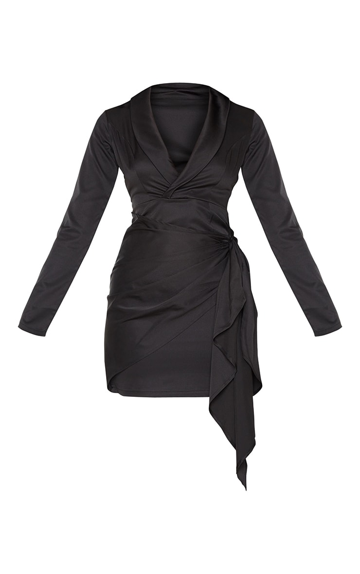 Black Plunge Drape Detail Wrap Skirt Blazer Style Bodycon Dress 5
