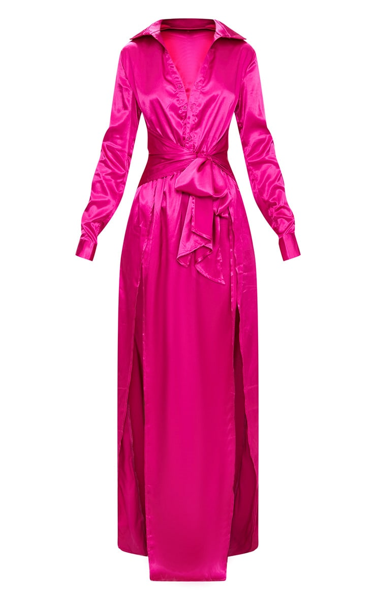 Fuchsia Pink Satin Extreme Split Waist Tie Shirt Maxi Dress 3