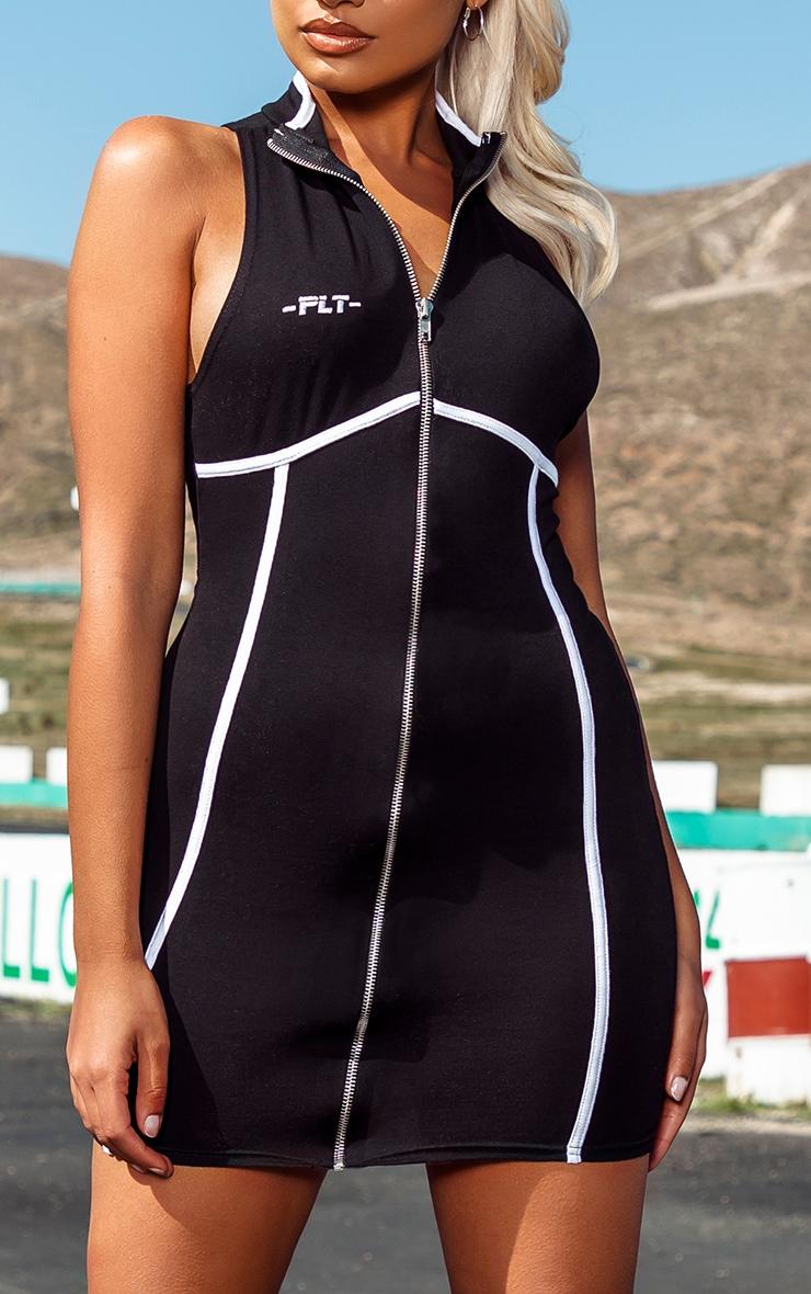 PRETTYLITTLETHING Petite Black Zip Up Binding Detail Bodycon Dress 4