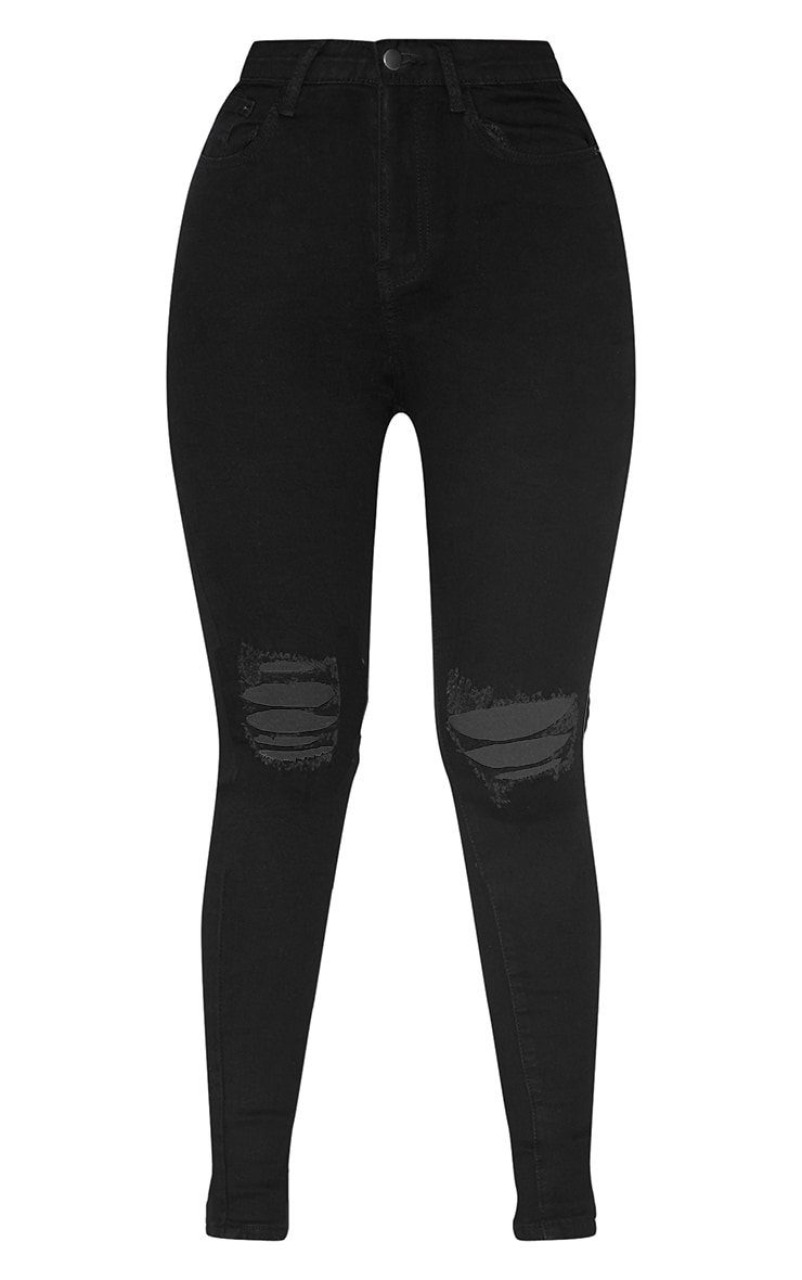 PRETTYLITTLETHING Black 5 Pocket Knee Rip Skinny Jean 3