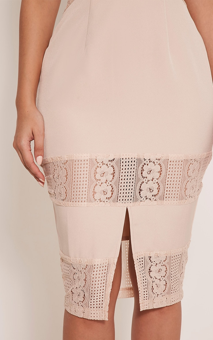 Nicky Nude Strappy Lace Panel Midi Dress 6