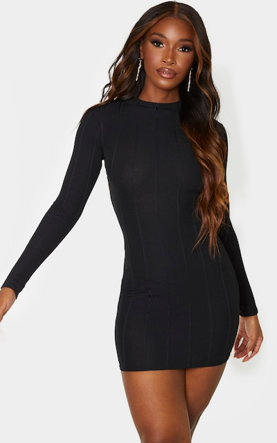 Black Ribbed High Neck Cut Out Bodycon Dress
