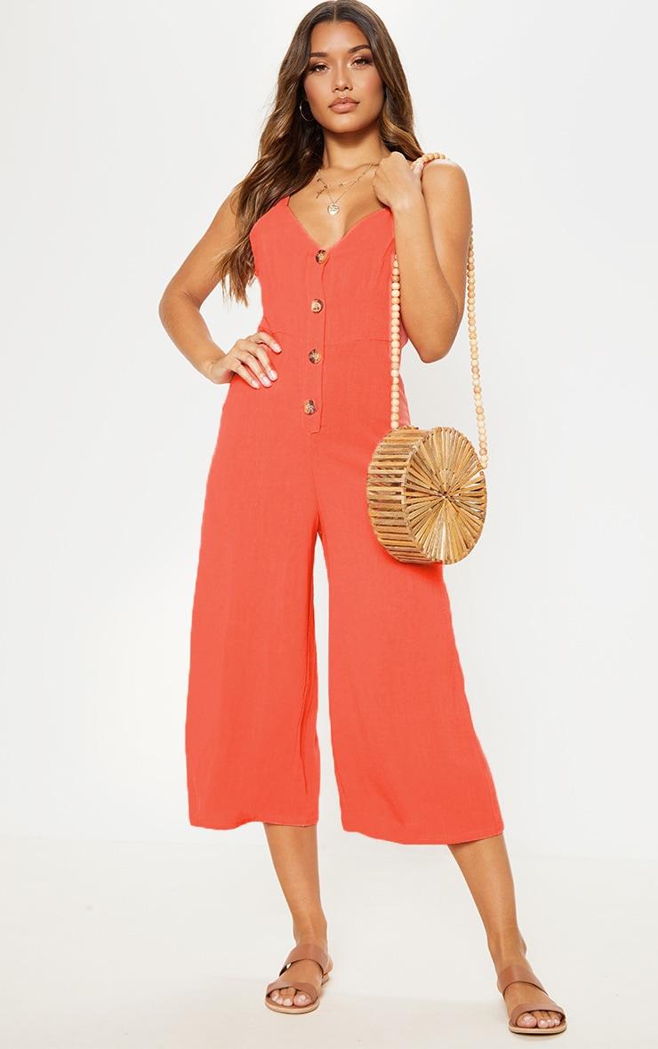 Coral Woven Button Front Culotte Jumpsuit 1