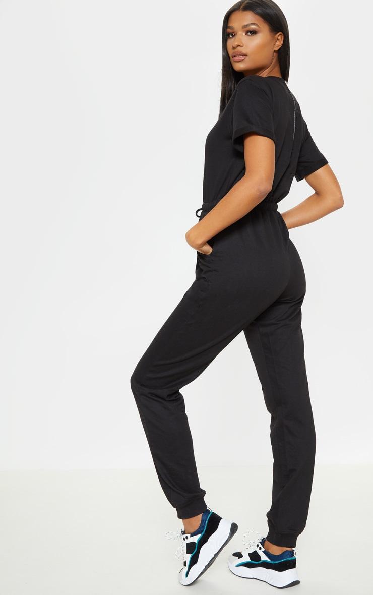 Black Sweat Short Sleeve Jogger Jumpsuit 2