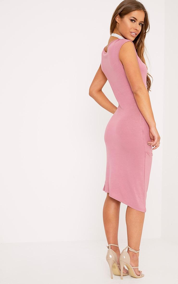 Petite Ayn Rose Aysmmetric Drape Midi Dress 2