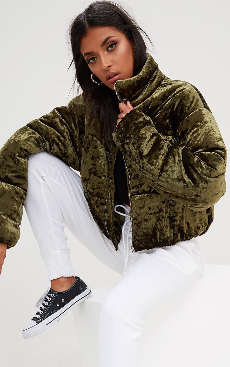 Khaki Velvet Cropped Puffer Coat 1