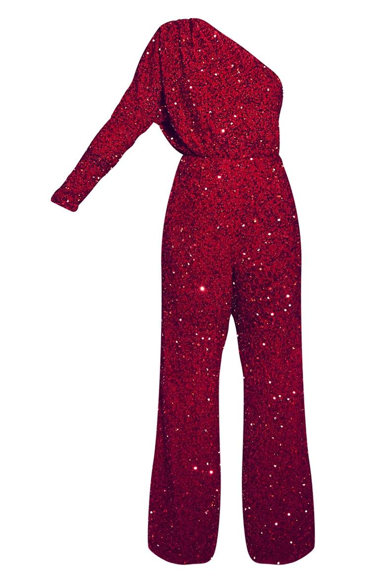 Red Premium Velvet Sequin One Shoulder Wide Leg Jumpsuit 5