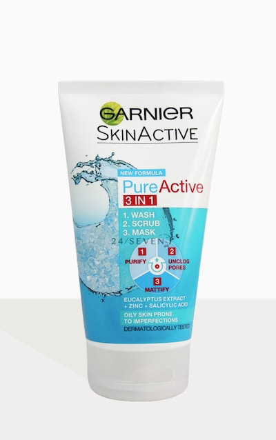 Garnier Pure Active 3in1 Clay Wash Scrub Mask Oily Skin 50ml