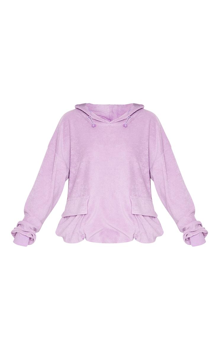 Lilac Towelling Oversized Pocket Sweatshirt 5