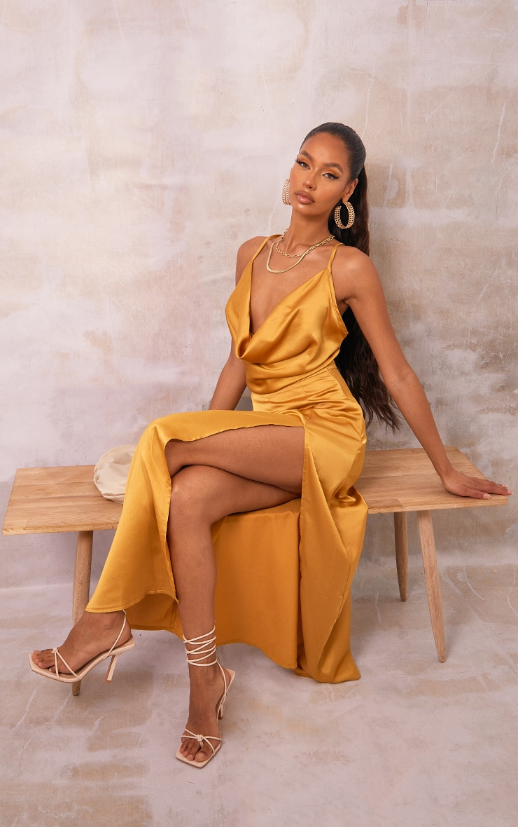 Mustard Satin Split Leg Maxi Skirt 1