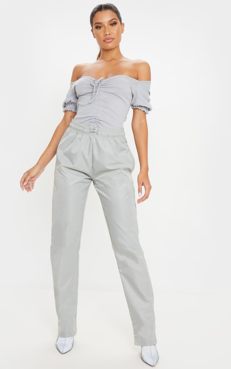 Grey Rib Ruched Front Short Sleeve Bodysuit 5