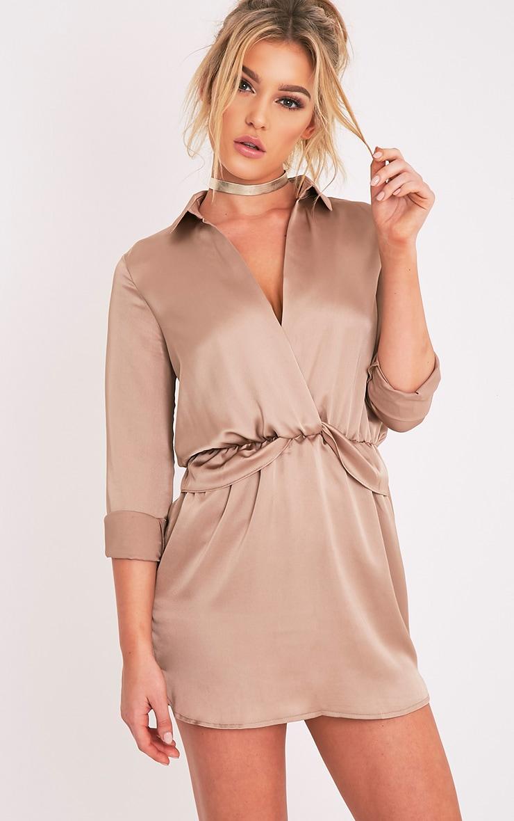 Katalea Mocha Twist Front Silky Shirt Dress 1