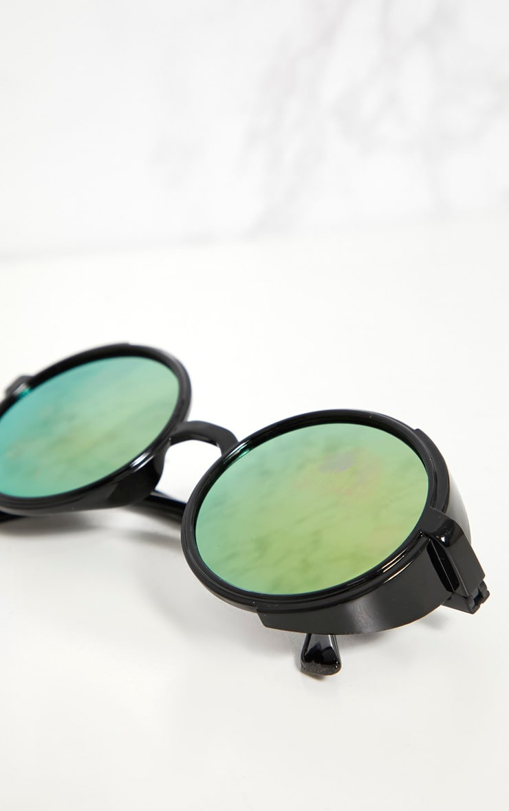 Pink Lens Round Retro Goggle Sunglasses 4